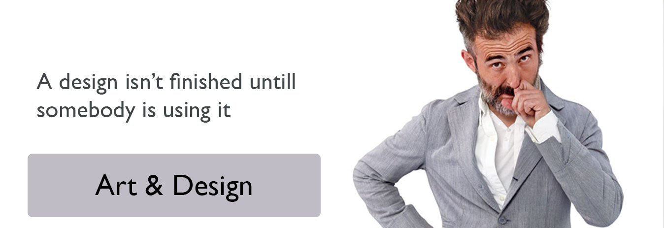 Art and Design banner with smart age confident guy 1348 × 463