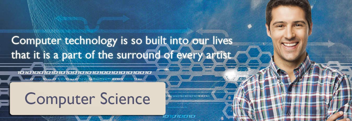 Computer-Science banner with guy smiling in check shirt and quote written