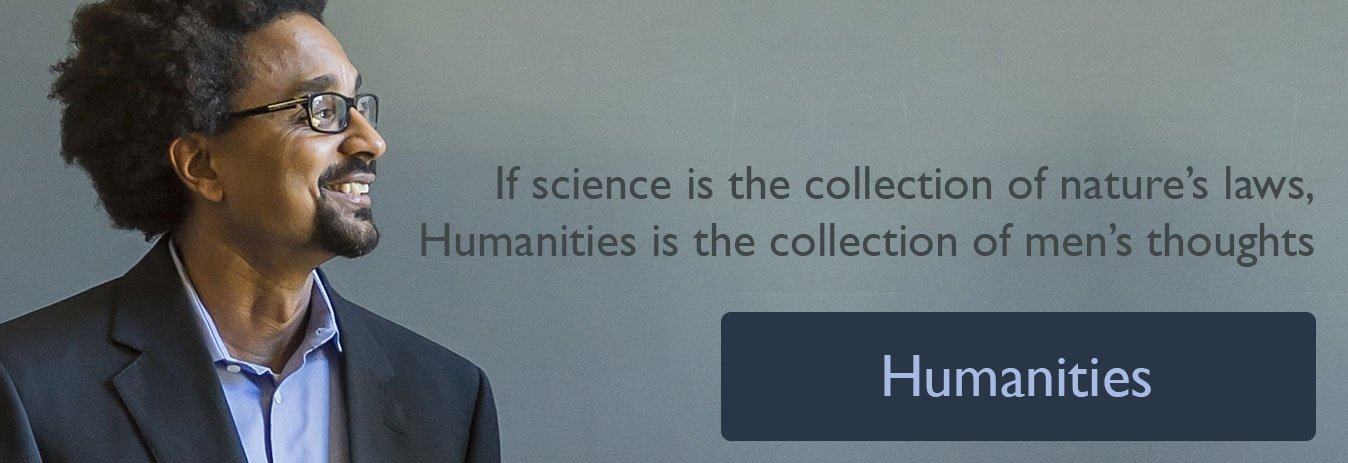 Humanities Banner with brown skin guy in glass smiling 1348 × 463