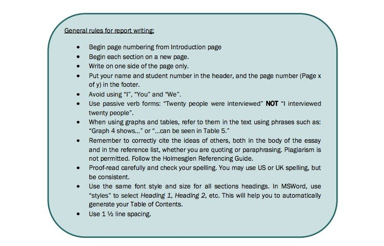 General norms for report writing